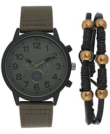 I.N.C. Men's Olive Green Leather Strap Watch 45mm Gift Set, Created for Macy's