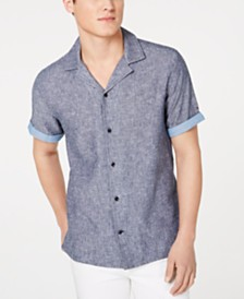Tommy Hilfiger Men's Big & Tall Cooper Custom-Fit Linen Camp Shirt