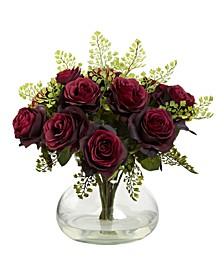 Rose and Maiden Hair Floral Arrangement w/Vase