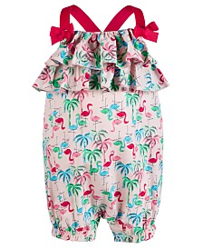 First Impressions Baby Girls Flamingo-Print Romper, Created for Macy's