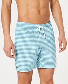 "Lacoste Men's Gingham Seersucker 6.5"" Swim Trunks"