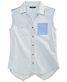 Big Girls Denim Chambray Sleeveless Cotton Top