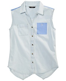 GUESS Big Girls Denim Chambray Sleeveless Cotton Top