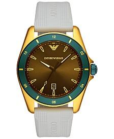 Emporio Armani Men's Gray Rubber Strap Watch 44mm