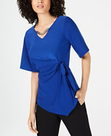 NY Collection Petite Embellished Tie-Waist Top