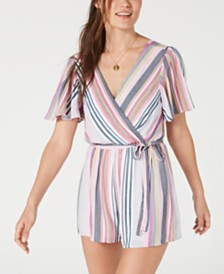 Trixxi Juniors' Open-Back Striped Romper