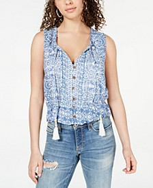 Juniors' Printed Pintucked Peasant Top, Created for Macy's