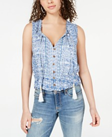 American Rag Juniors' Printed Pintucked Peasant Top, Created for Macy's