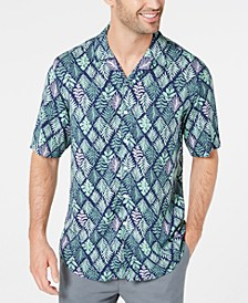 Men's Diamond Leaf-Print Camp Collar Shirt, Created for Macy's