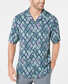 Club Room Men's Diamond Leaf-Print Camp Collar Shirt, Created for Macy's