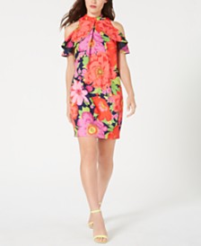 Trina Trina Turk Ruffled Cold-Shoulder Shift Dress, Created for Macy's
