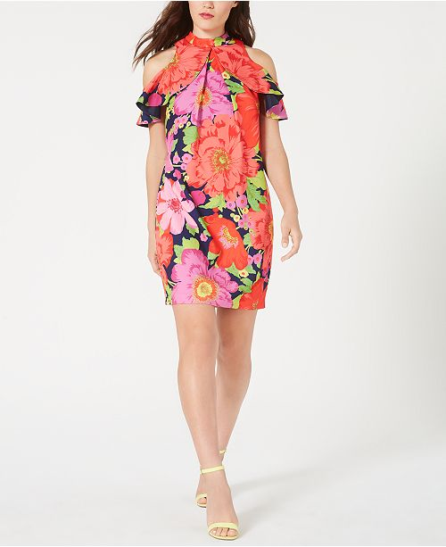 Trina Turk Ruffled Cold-Shoulder Shift Dress, Created for Macy's