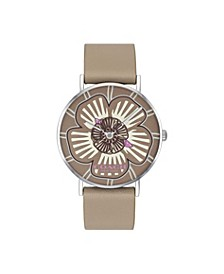 Women's Perry Stone Leather Strap Tea Rose Dial Watch 36mm, Created For Macy's