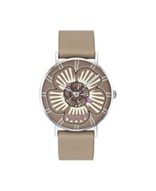 COACH Women's Perry Stone Leather Strap Tea Rose Dial Watch 36mm, Created For Macy's