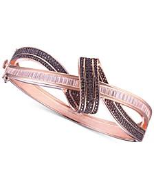 Cubic Zirconia Mocha Twist Bangle Bracelet in 14k Rose Gold-Plated Sterling Silver