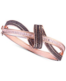 Tiara Cubic Zirconia Mocha Twist Bangle Bracelet in 14k Rose Gold-Plated Sterling Silver