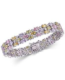 Tiara Cubic Zirconia Multicolor Three Row Bracelet in Sterling Silver