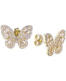 Cubic Zirconia Butterfly Stud Earrings