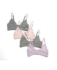Tahari Girl 4-Pack Triangle Lace-Trim Bra