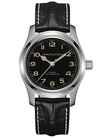 Men's Swiss Automatic Khaki Field Black Leather Strap Watch 42mm