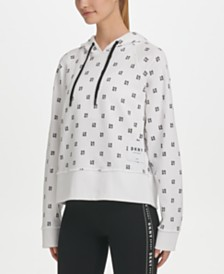 DKNY Sport Cotton Logo-Print Relaxed Hoodie