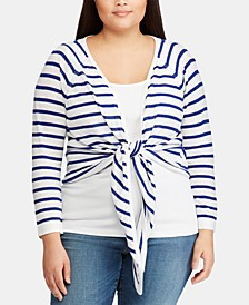 Plus Size Striped Open-Front Sweater