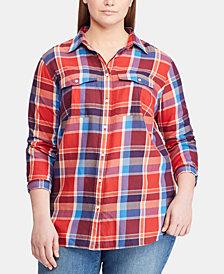 Lauren Ralph Lauren Plus Size Plaid Cotton Twill Shirt