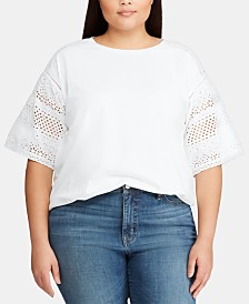 Lauren Ralph Lauren Plus Size Dropped-Shoulder Top