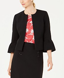 Nine West Collarless Bell-Sleeve Jacket
