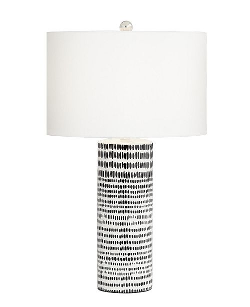 Kathy Ireland Pacific Coast Ceramic White with Black Stripes Table Lamp