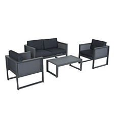 Fisher Island Outdoor 4pc Dining Set, Quick Ship