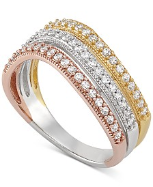 Cubic Zirconia Tri-Color Statement Ring in Sterling Silver and 18k Gold Plate and 18k Rose Gold Plate