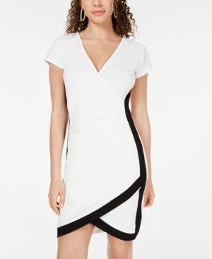 Almost Famous Crave Fame Juniors' Framed Wrap Dress In Cream/Black