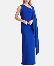 Lauren Ralph Lauren Cape-Overlay Crepe Gown