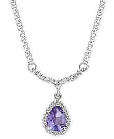 """Tanzanite (3/4 ct. t.w.) & Diamond (1/4 ct. t.w.) 16"""" Pendant Necklace in 14k White Gold"""