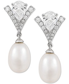 Cultured Freshwater Pearl (8mm) & Swarovski Zirconia Drop Earrings in Sterling Silver, Created for Macy's