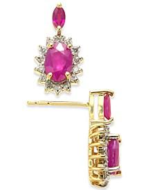Ruby (1-3/8 ct. t.w.) & Diamond (1/5 ct. t.w.) Stud Earrings in 14k Gold