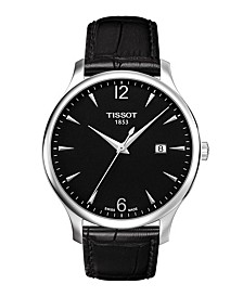Men's Tradition Black Leather Strap Watch 42mm