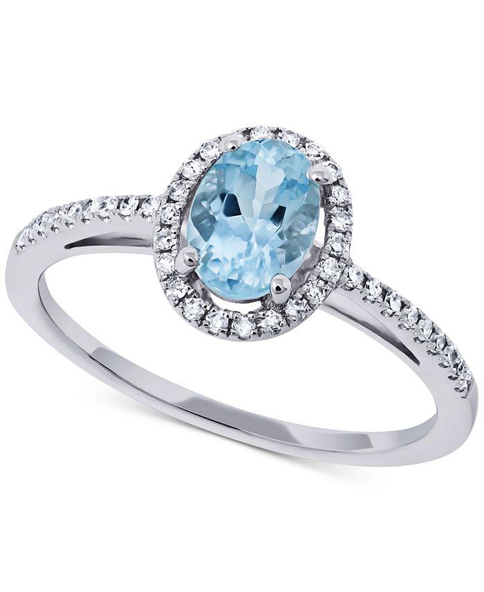 Macy's - Aquamarine (5/8 ct. t.w.) & Diamond (1/6 ct. t.w.) Ring in 14k White Gold
