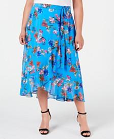 Calvin Klein Plus Size Ruffled Faux-Wrap Midi Skirt