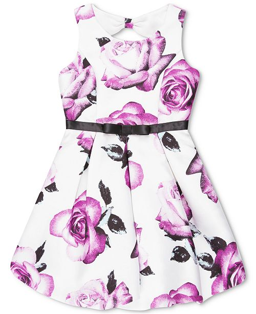 Speechless Big Girls Floral-Print Bow-Back Dress