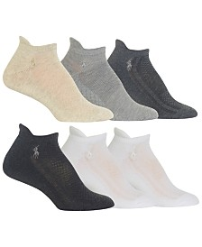 Polo Ralph Lauren Women's 6-Pk. Mixed-Mesh Low-Cut Tab Socks