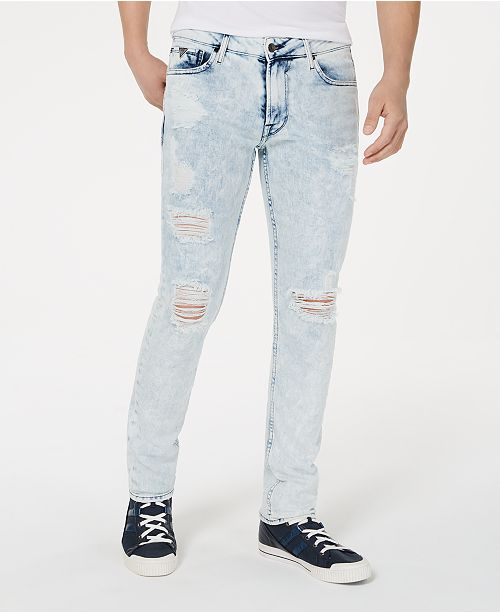 GUESS Men's Skinny-Fit Stretch Bleached Destroyed Jeans