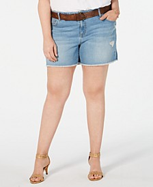 Plus Size Distressed Belted Shorts, Created for Macy's