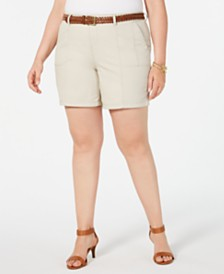 Style & Co Plus Size Belted Shorts, Created for Macy's