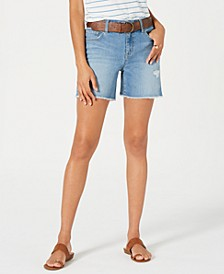 Petite Belted Denim Shorts, Created for Macy's