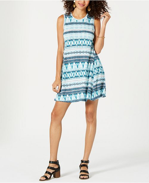 Style & Co Petite Sleeveless Printed Dress, Created for Macy's