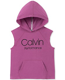 Calvin Klein Performance Big Girls Slim-Fit Sleeveless Logo Hoodie