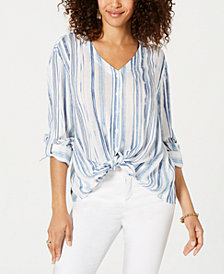Style & Co Petite Striped Roll-Tab-Sleeve Shirt, Created for Macy's