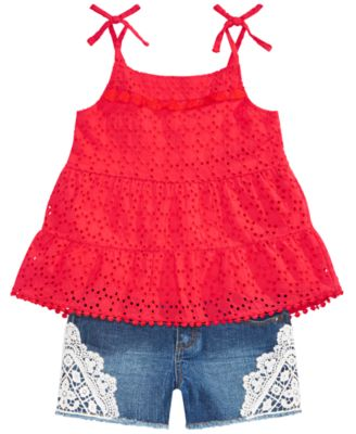 Big Girls Crocheted Denim Shorts, Created for Macy's
